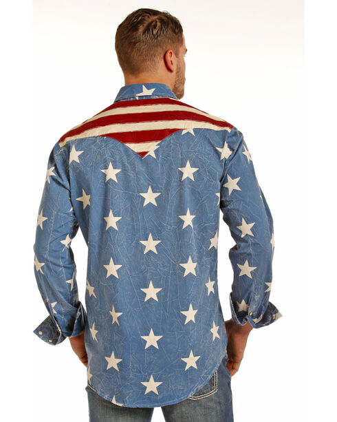 Rock & Roll Cowboy Men's Stars and Stripes Long Sleeve Snap Shirt, Red/white/blue, hi-res