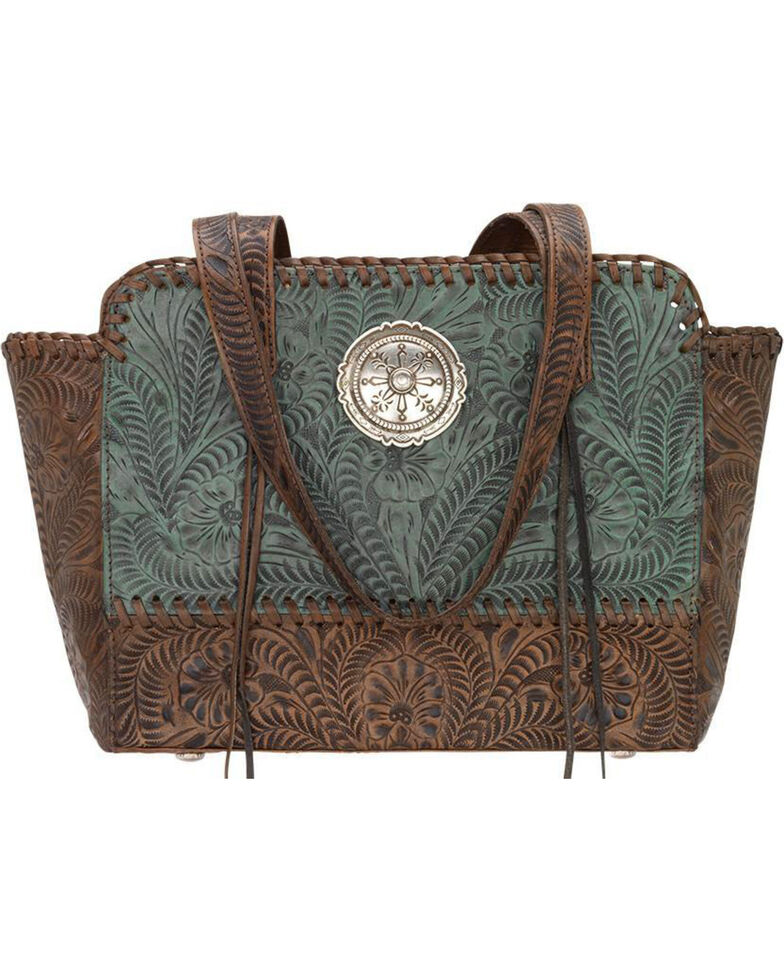 American West Women's Copper Annie's Concealed Carry Tote , Turquoise, hi-res