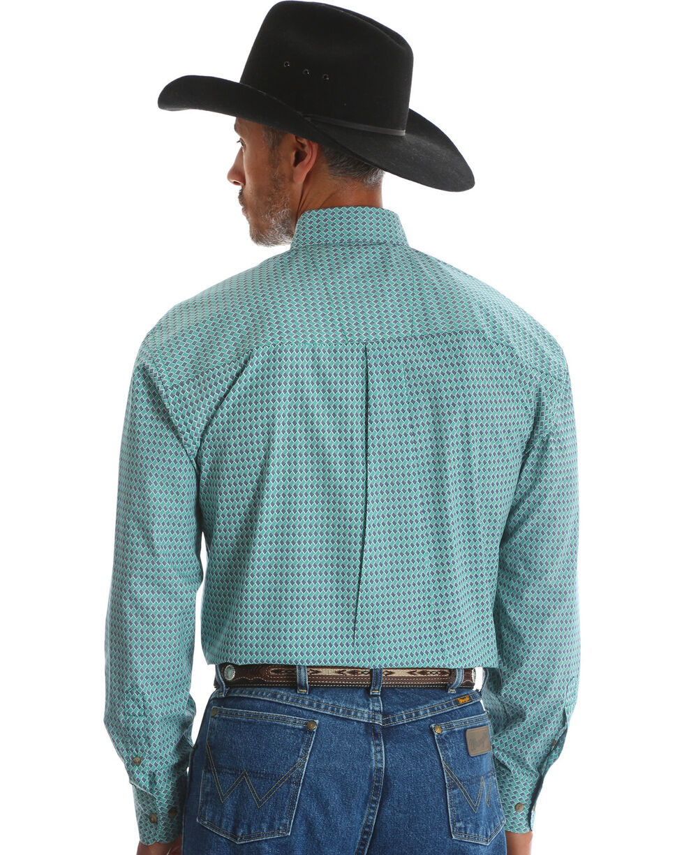 Wrangler Men's Blue George Strait One Pocket Print Shirt , Blue, hi-res