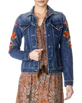 Miss Me Women's Floral Embroidered Denim Jacket , Indigo, hi-res