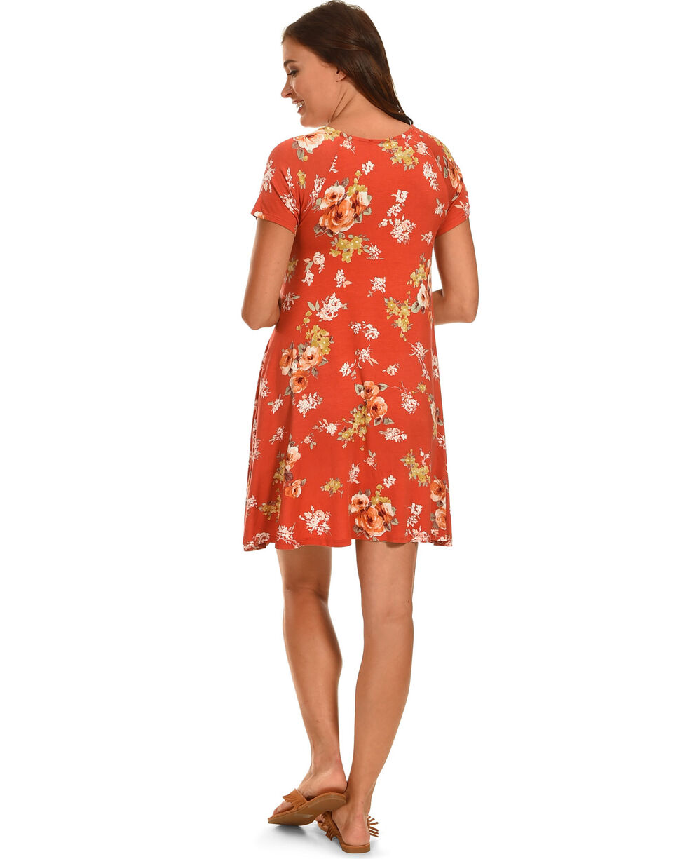 Ces Femme Women's Floral Short Sleeve Knit Dress , Red, hi-res