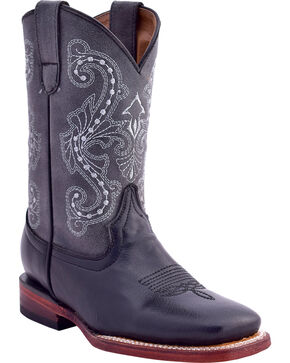 Ferrini Girls' Cowhide Western Boots - Square Toe, Multi, hi-res