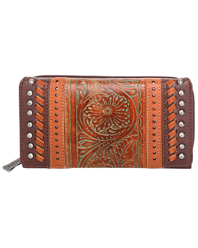 Trinity Ranch Women's Tooled Floral Wallet, Coffee, hi-res