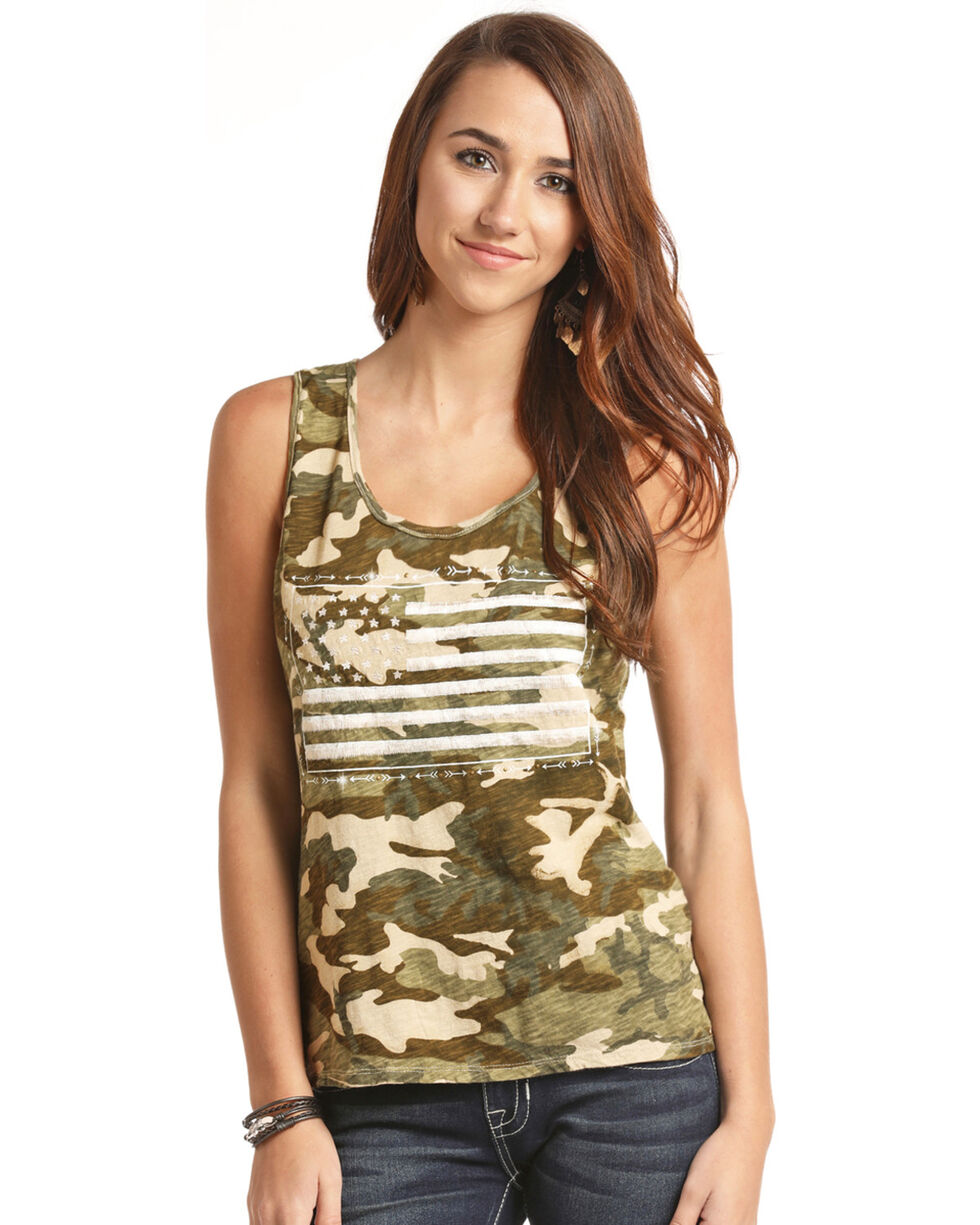 Rock & Roll Cowgirl Women's Camo American Flag Tank, Olive, hi-res