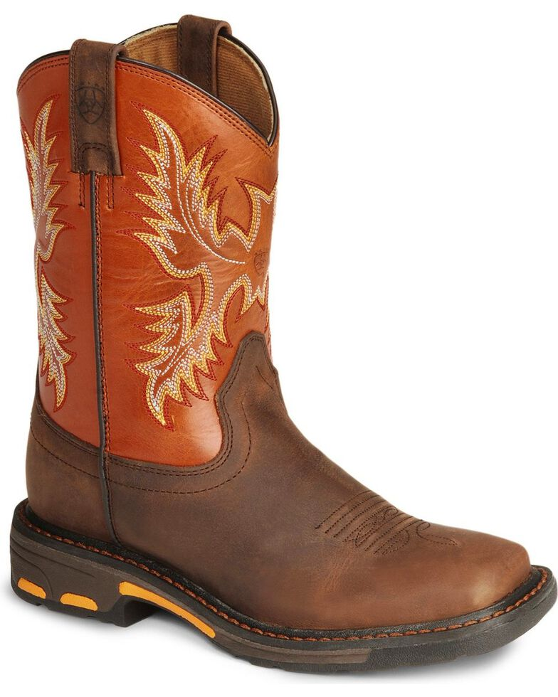 e528def36fb Ariat Youth Boys' Earth Workhog Cowboy Boots