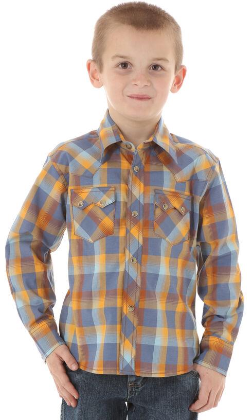 Wrangler Boys' Blue & Brown Western Jean Shirt, Blue, hi-res