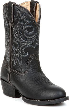 Durango Boys' Black Cowboy Boots - Round Toe, Black, hi-res