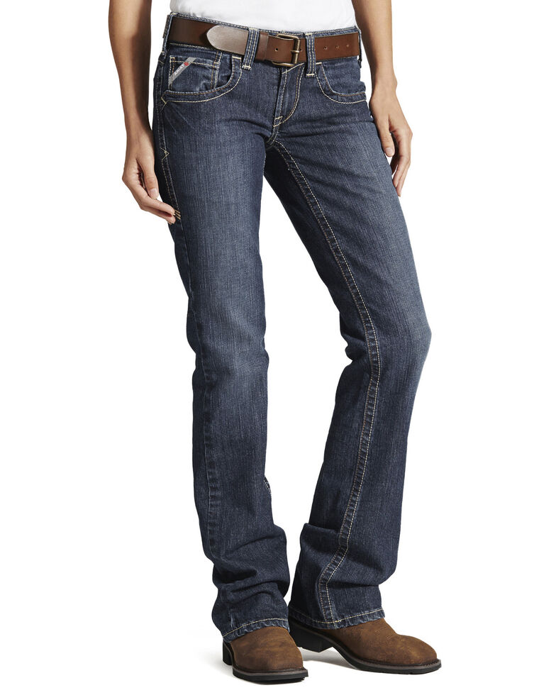 Ariat Women's Flame Resistant Bootcut Work Jeans, Denim, hi-res