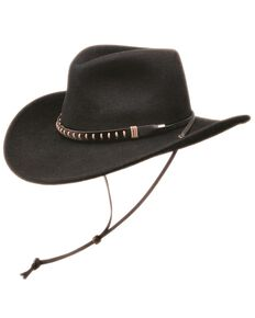 Black Creek Men's Chincord Crushable Wool Felt Hat , Black, hi-res
