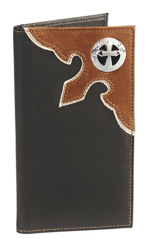 Cross Concho Overlay Checkbook, Black, hi-res