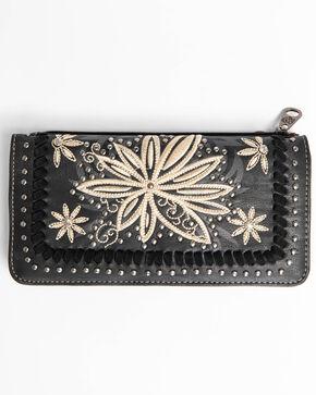 Shyanne Women's Floral Embroidered wallet, Black, hi-res