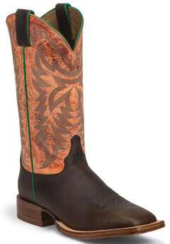 Justin Grizzly Chocolate Stampede CPX Cowboy Boots - Square Toe , Chocolate, hi-res