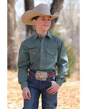 Cinch Boys' Print Snap Front Long Sleeve Western Shirt , Green, hi-res