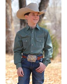 af0b8145d Cinch Boys Print Snap Front Long Sleeve Western Shirt , Green, hi-res