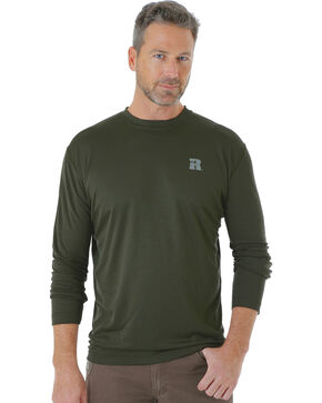 Wrangler Men's Green Riggs Crew Performance Long Sleeve T-Shirt - Big and Tall, Green, hi-res