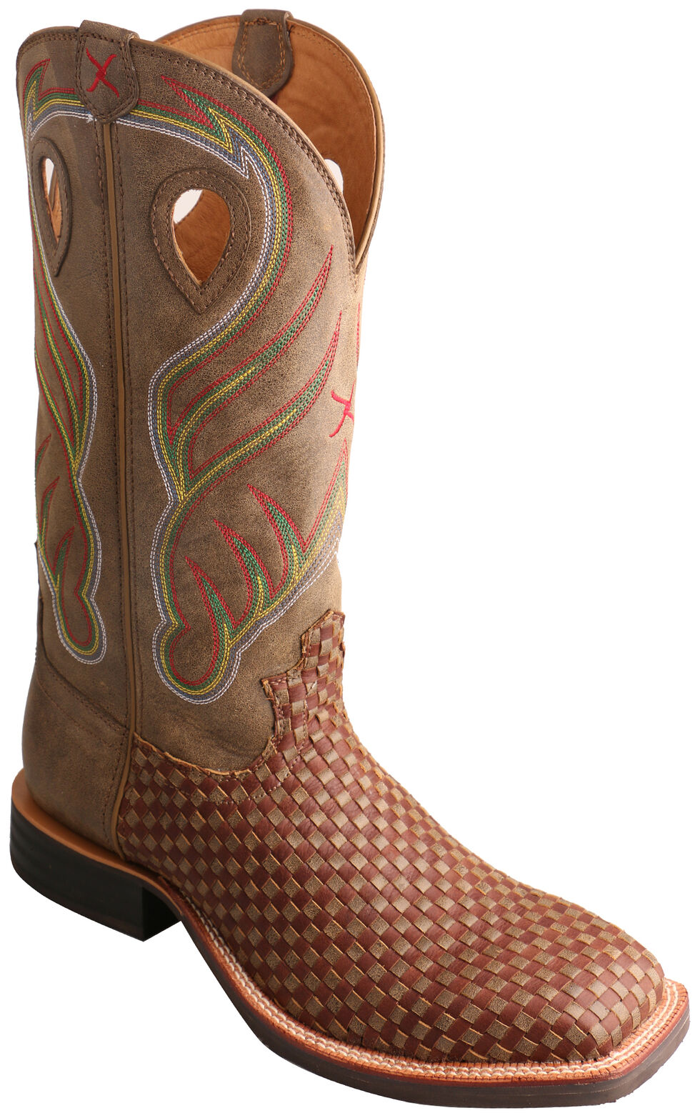 Twisted X Brown Basketweave Ruff Stock Cowboy Boots - Wide Square Toe  , Brown, hi-res