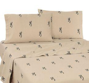 Buckmark Queen Sheet Set, Brown, hi-res