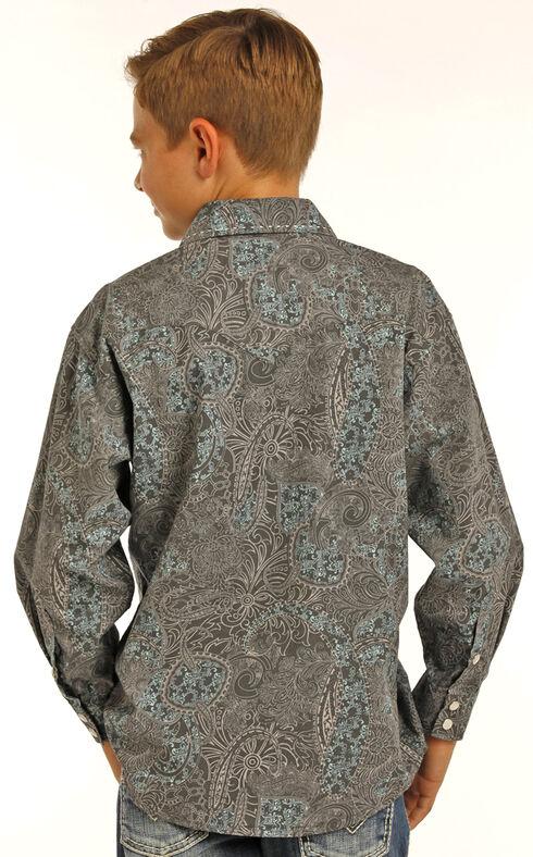 Rock & Roll Cowboy Boys' Black Poplin Paisley Print Long Sleeve Shirt, Black, hi-res