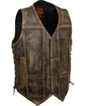 Milwaukee Leather Men's Brown Distressed 10 Pocket Vest, Black/tan, hi-res