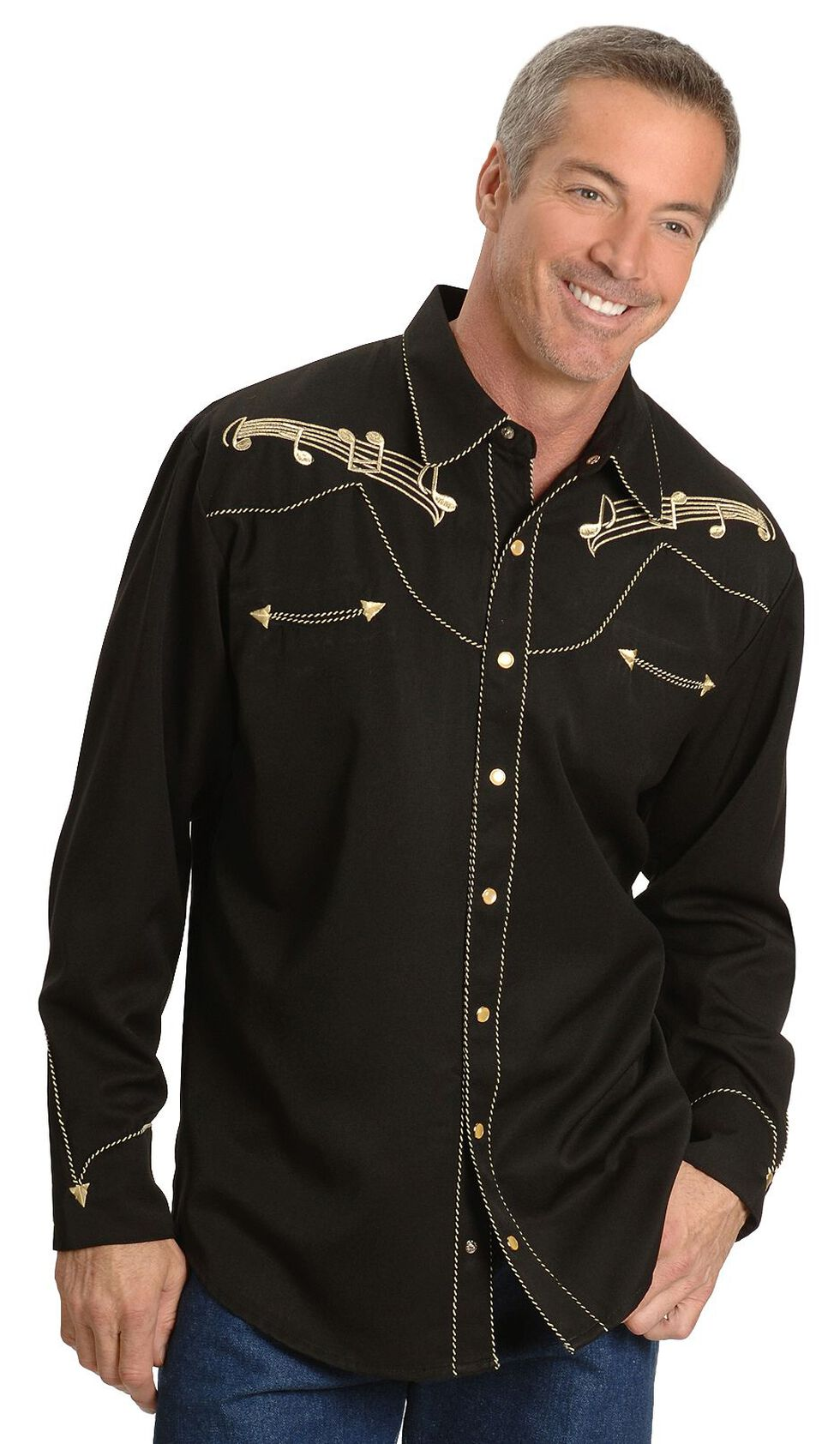 Scully Music Note Embroidered Retro Western Shirt - Big & Tall, Black, hi-res