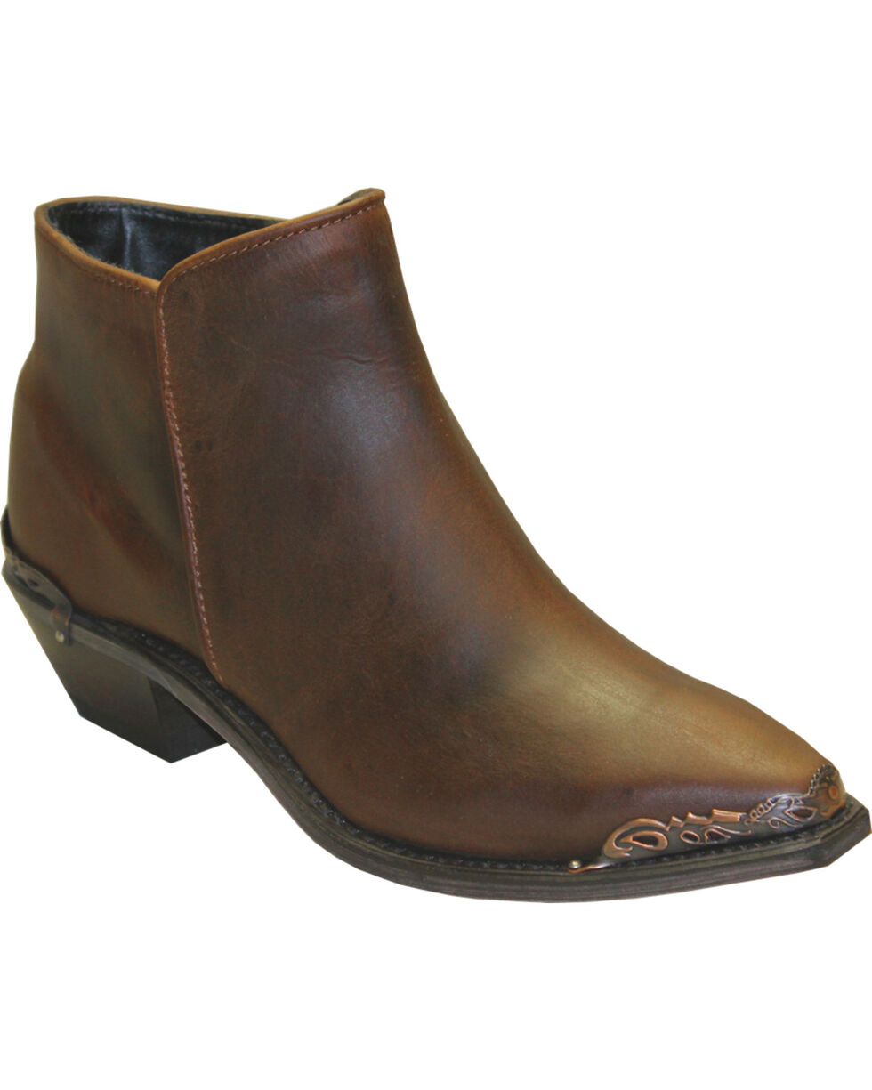 Abilene Women's Brown Demi Zipper Boots - Snip Toe , Brown, hi-res