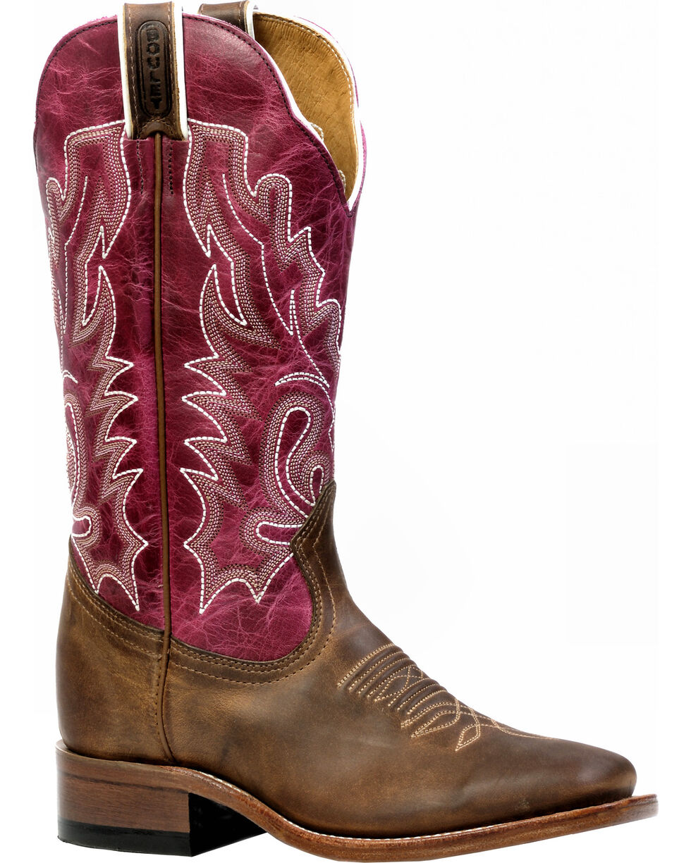 Boulet Hillbilly Golden Lava Magenta Cowgirl Boots - Square Toe, Brown, hi-res