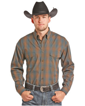 Panhandle Men's Brown Button Down Plaid Shirt, Brown, hi-res