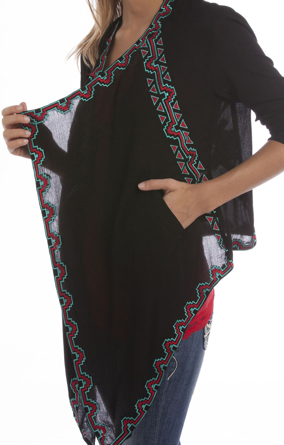 Rock and Roll Cowgirl Women's Open Front Wrap Cardigan, Black, hi-res