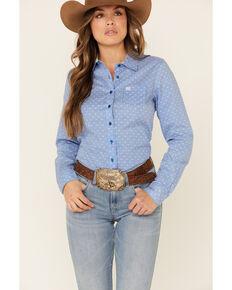 Cinch Women's Blue Dot Print Button Front Long Sleeve Western Shirt , Blue, hi-res