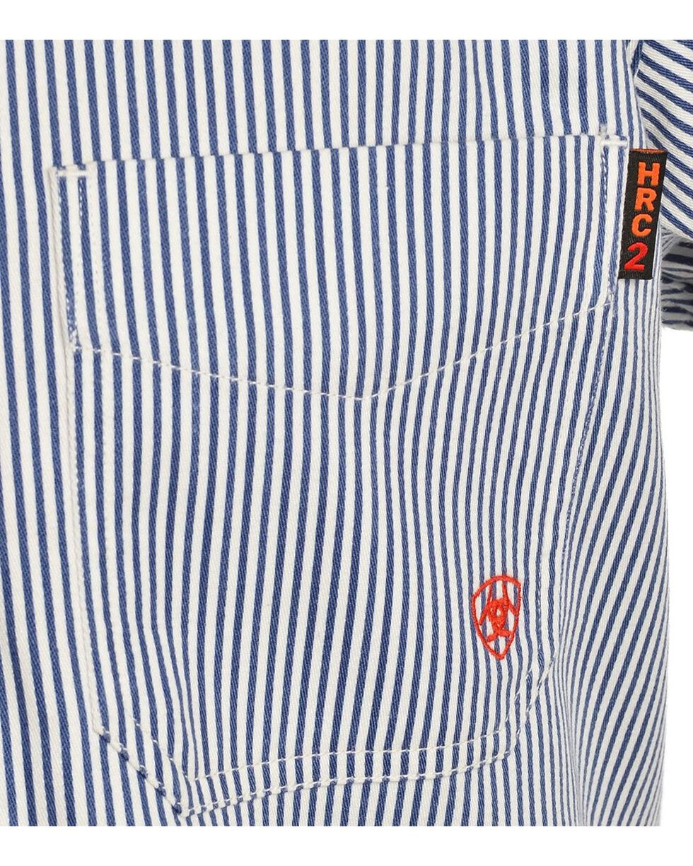 Ariat Flame Resistant Blue & White Striped Work Shirt, Blue, hi-res