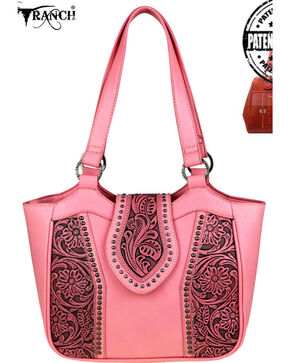 Montana West Trinity Ranch Tooled Leather Conceal Carry Tote, Pink, hi-res