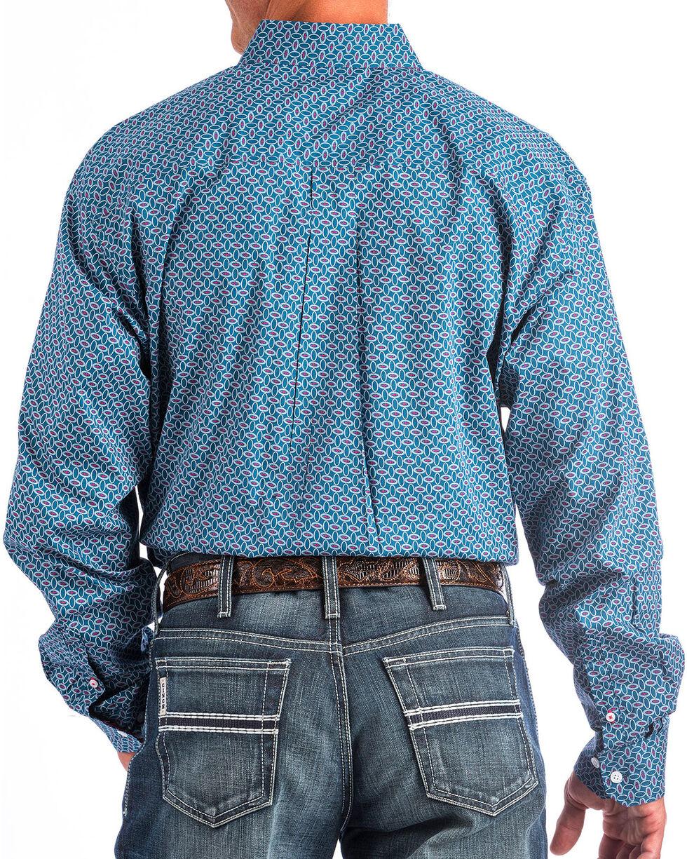Cinch Men's Navy Allover Print Western Shirt , Navy, hi-res