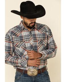 Resistol Men's Grey Ontario Large Plaid Long Sleeve Western Shirt , Grey, hi-res
