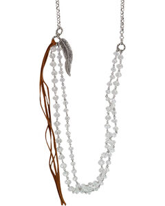 Shyanne Women's Extra Long Crystal Fringe Tassel Necklace, Silver, hi-res