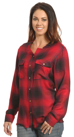 New Direction Women's Frayed Edge Red Plaid Shirt , Red, hi-res