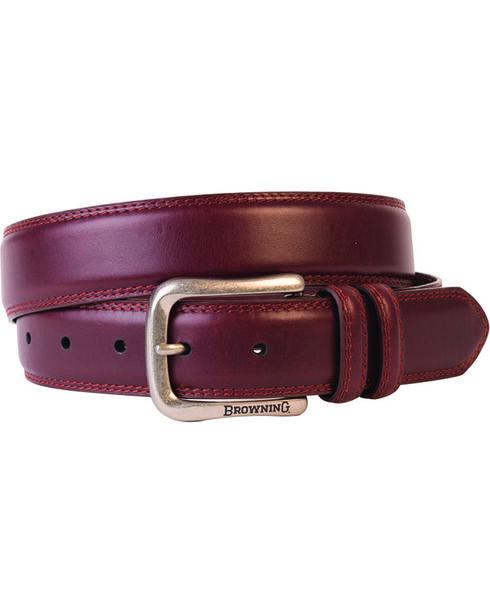 Browning Men's Embroidered Leather Belt, Brown, hi-res