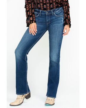 Silver Women's Suki Curvy Mid-Rise Slim Boot Cut Jeans, Indigo, hi-res