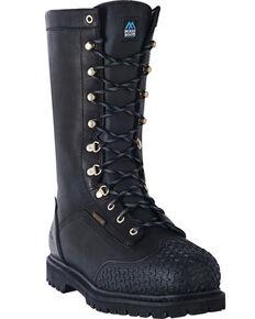 """McRae Men's 12"""" Insulated Waterproof Work Boots - Steel Toe, Black, hi-res"""