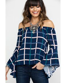 acf1fbc20f9e90 Shyanne Womens Navy Plaid Off Shoulder Bell Sleeve Top