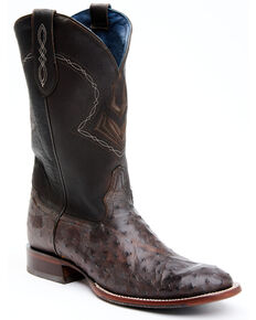 Cody James Men's Blue Exotic Full-Quill Ostrich Western Boots - Round Toe, Brown, hi-res