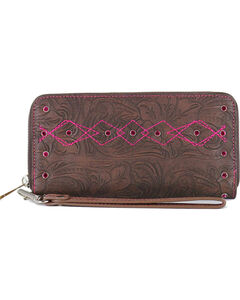 Catchfly Women's Paige Tooled Wristlet, Brown/pink, hi-res