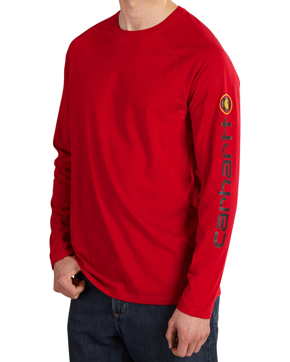 Carhartt Men's Force Cotton Delmont Sleeve Graphic Long-Sleeve T-Shirt, Dark Red, hi-res