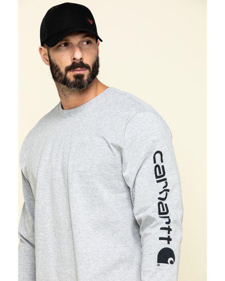 Carhartt Men's Signature Logo Long Sleeve Knit Work T-Shirt , Hthr Grey, hi-res