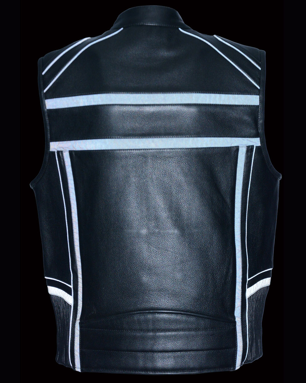 Milwaukee Leather Men's Reflective Band & Piping Zip Front Vest, Black, hi-res