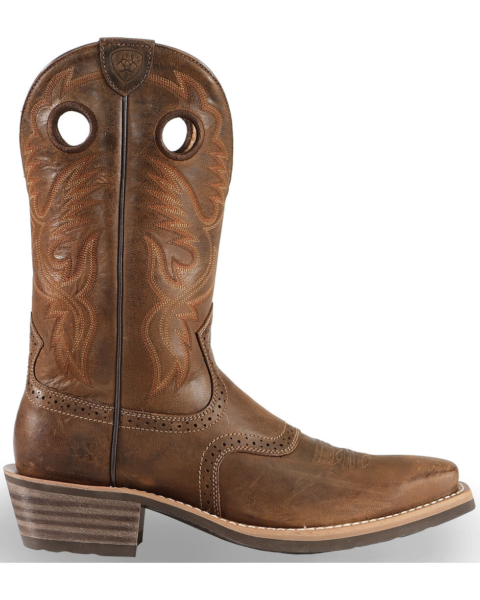 Ariat Men's Heritage Roughstock Chestnut Western Boots - Square Toe, Brown, hi-res
