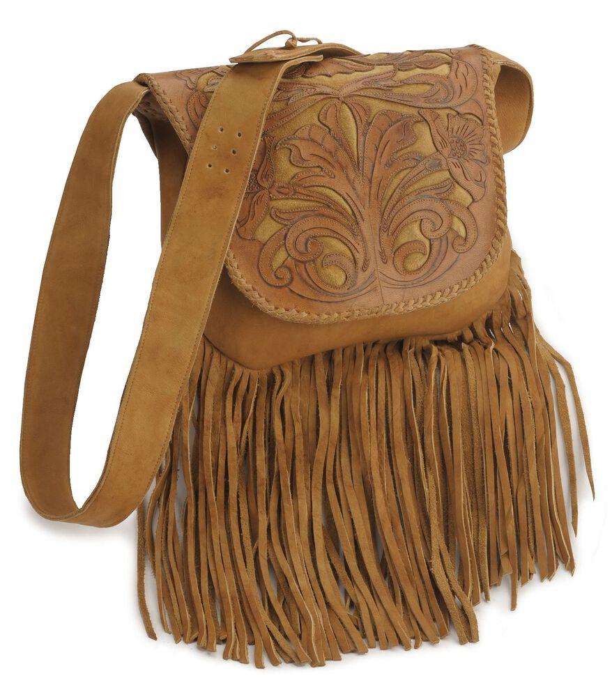 Kobler Tooled Fringe Leather Handbag Beige Hi Res