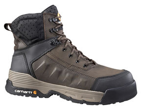 "Carhartt Men's 6"" Lace-Up Waterproof Work Boots - Composite Toe, Brown, hi-res"