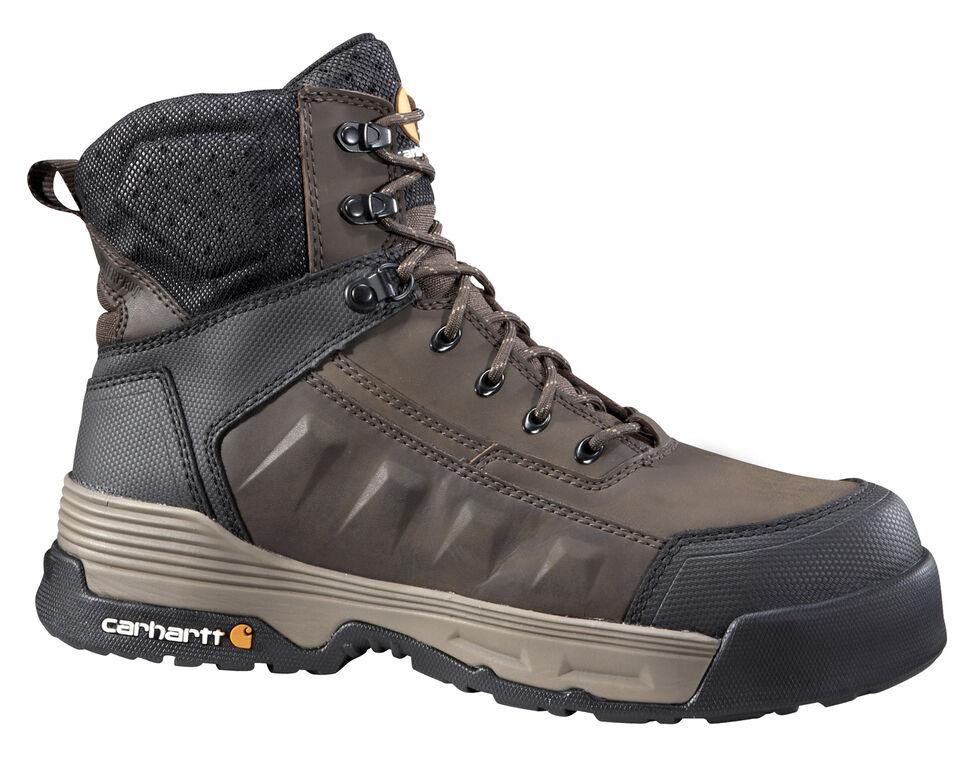"Carhartt Men's 6"" Lace-Up Waterproof Work Boots - Composite Toe, Brown, hi-res"