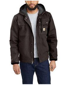 Carhartt Men's Dark Brown Washed Duck Sherpa Lined Work Jacket , Dark Brown, hi-res