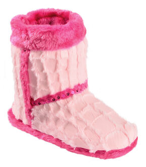 Blazin Roxx Youth Girls' Plush Pink Star Bootie Slippers, Pink, hi-res